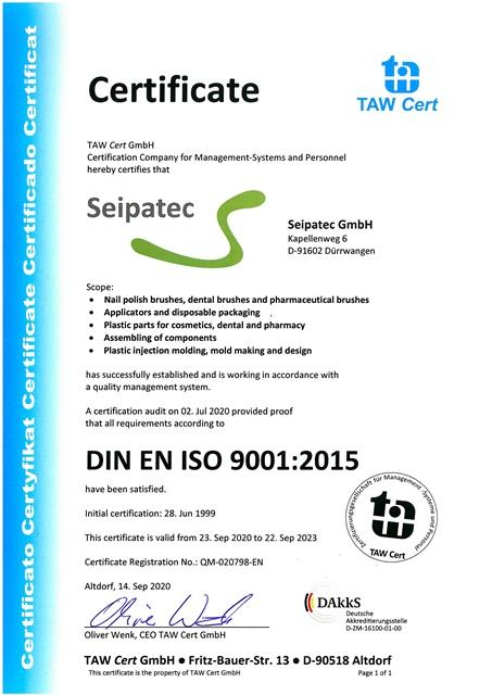 Download DIN EN ISO 9001 Certificate Seipatec (German + English)